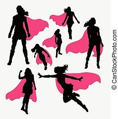 silhuetas, superhero, femininas