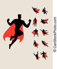 silhuetas, superhero