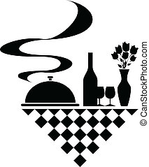 silhuetas, vetorial, catering