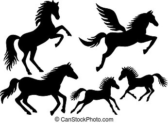 silhuetas, vetorial, cavalo