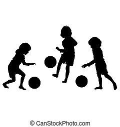 silhuetas, vetorial, futebol, crianças