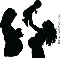 silhuetas, vetorial, grávida, mãe