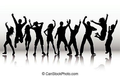 silhuetas, vetorial, pessoas, dança, dançar