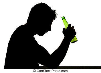 silueta, alcoólico, deprimido, bêbado, cerveja, garrafa bebendo, queda, vício, sentimento, problema, homem