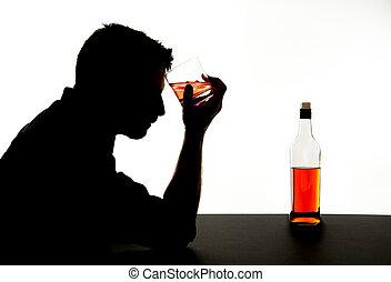 silueta, alcoólico, deprimido, bêbado, uísque, garrafa bebendo, queda, vício, sentimento, problema, homem
