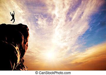 silueta, alegria, pular, pôr do sol, pico, homem, montanha, penhasco