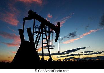 silueta, bomba, óleo, pôr do sol