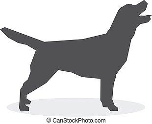 silueta, cão, ilustração, experiência., vetorial, branca