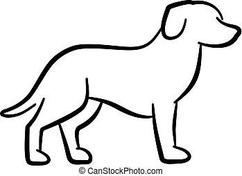 silueta, cão