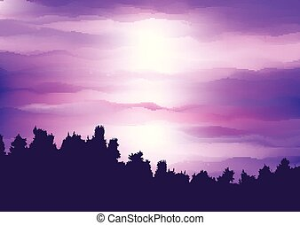 silueta, céu roxo, abstratos, árvore, contra, pôr do sol, paisagem