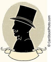 silueta, chapéu, rosto, vetorial, cavalheiro, mustache.