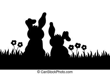 silueta, coelhos, prado, dois