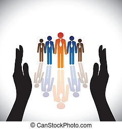 silueta, concept-, companhia, secure(protect), mão, empregados, incorporado, ou, executivos