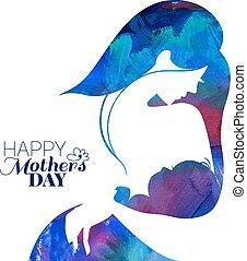 silueta, dela, mãe, bebê, pintura acrílica