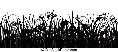 silueta, flores, capim, seamless