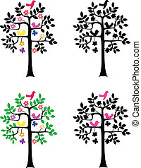 silueta, fundo, árvore, branca