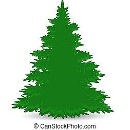 silueta, fundo, natal, branca, verde, árvore, luxuriante