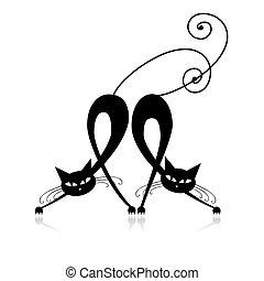 silueta, gatos, dois, desenho, gracioso, seu, pretas
