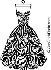 silueta, isolado, costas, vetorial, vestido floral
