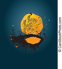 silueta, lua, dia das bruxas, céu, abóboras, night:, experiência.