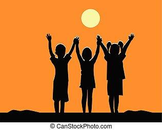 silueta, mãos, abanar, três crianças, equipe, amizade, pôr do sol