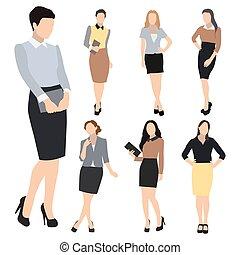 silueta, mulher, vetorial, jogo, negócio