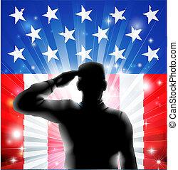 silueta, nós, soldado, bandeira, militar, saudando