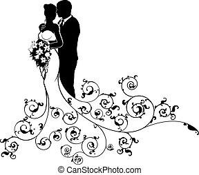 silueta, noivo, noiva, par, abstratos, casório