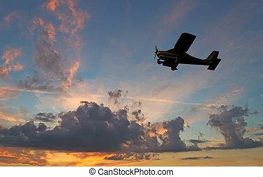silueta, ocaso avião