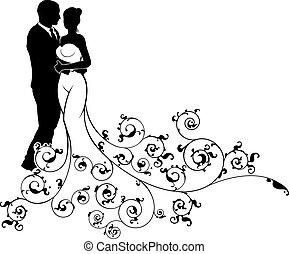silueta, padrão, abstratos, noivo, noiva, casório
