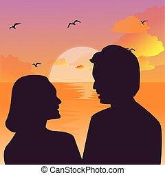 silueta, par, céu, contra, pôr do sol, beijando