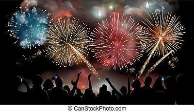 silueta, pessoas, exposição, fogos artifício, vetorial, fundo, mostrar, observar, feriado, noturna, festivo, celebração