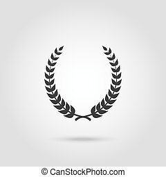 silueta, pretas, laurel, foliate, circular