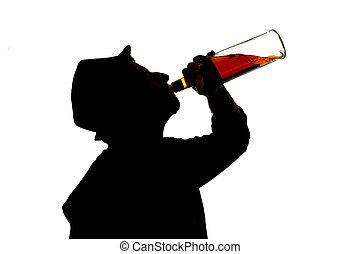 silueta, queda, sentimento, garrafa, problema, bêbado, homem, bebendo, uísque, vício, alcoólico, deprimido