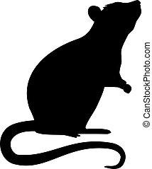 silueta, rato, ficar