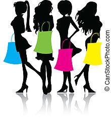 silueta, shopping, meninas