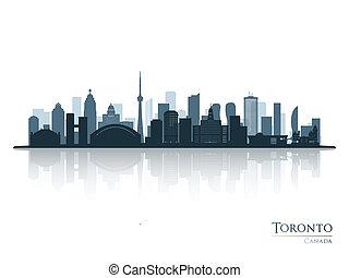 silueta, skyline toronto, reflexão., azul