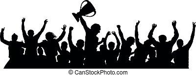 silueta, torcida, copo, fans., esportes, vetorial