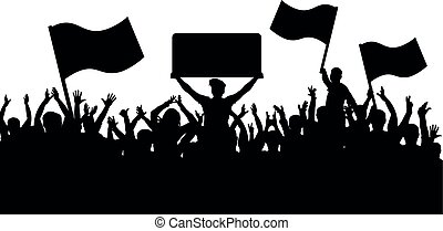 silueta, torcida, pessoas, fans., esportes, experiência., bandeiras