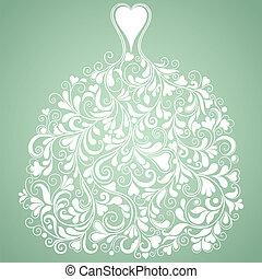 silueta, vindima, vetorial, casório, vestido branco