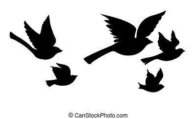 silueta, voando, vetorial, fundo, branca, pássaros