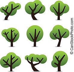 simples, árvore, ícones