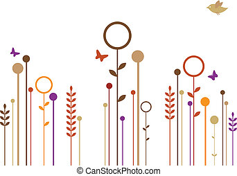 simples, flores, vetorial