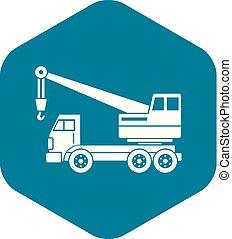 simples, guindaste, caminhão, ícone