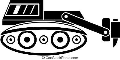 simples, martelo, hidráulico, escavador, ícone