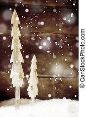 simples, rústico, neve, árvores, natal