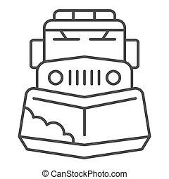 sinal, ícone, graphics., teia, branca, inverno, arado, móvel, neve, conceito, fundo, conceito, ícone, esboço, caminhão, máquina, vetorial, linha, estação, remoção, magra, trator, design., estilo