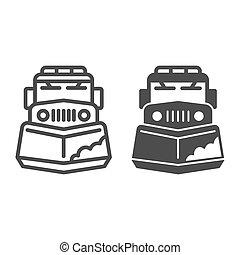 sinal, ícone, graphics., teia, branca, inverno, arado, móvel, neve, conceito, fundo, conceito, ícone, esboço, caminhão, máquina, sólido, vetorial, linha, estação, remoção, trator, design., estilo