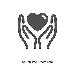 sinal., amigos, amizade, ter, icon., ame coração, vetorial, mão.