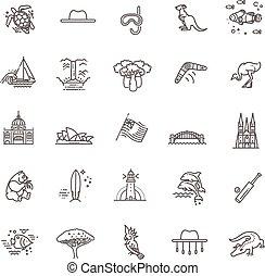 sinal, animais, emblema, australiano, vetorial, traditions., elemento, gráfico, cultura, set., símbolo